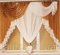 Занавеска в зал спальню гостинную из шифона, красивые занавески для гостинной зала кухни, готовая занавеска, фото 5