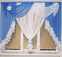 Занавеска в зал спальню гостинную из шифона, красивые занавески для гостинной зала кухни, готовая занавеска, фото 8