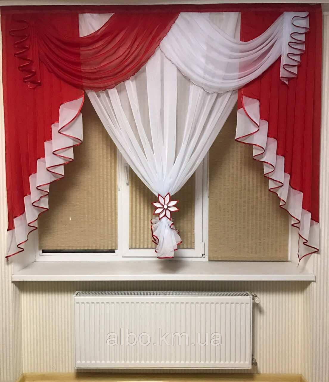 Занавеска в зал спальню гостинную из шифона, красивые занавески для гостинной зала кухни, готовая занавеска