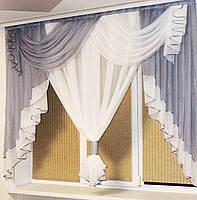 Занавеска в зал спальню гостинную из шифона, красивые занавески для гостинной зала кухни, готовая занавеска, фото 7