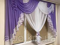Занавеска в зал спальню гостинную из шифона, красивые занавески для гостинной зала кухни, готовая занавеска, фото 9