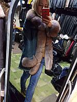 Джинсовая женская парка на овчине с мехом, Турция, 90 см