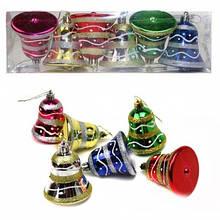 Игрушки новогодние форма колокольчика пластиковые с рисунком волна в PVC пачке 6 штук 6 цветов