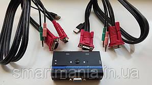 Коммутатор 2-портовый KVM свич,2 кабеля USB-KVM - автоматический переключатель с поддержкой аудиосистемой