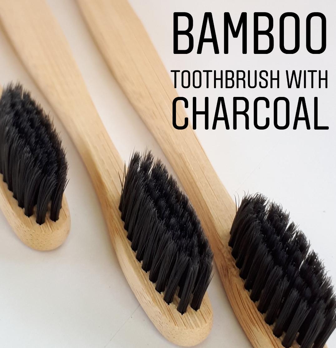 Зубная щетка из бамбука с древесно-угольной щетиной в Боксе