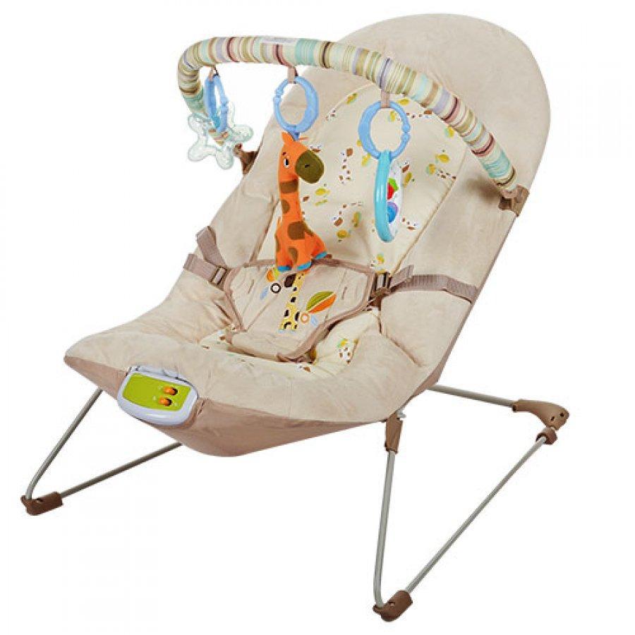 Детский шезлонг вибро Bambi 30608 бежевый