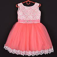 """Платье нарядное детское """"Миледи"""" с аппликацией 3-4 года. Коралловое. Купить оптом и в розницу, фото 1"""