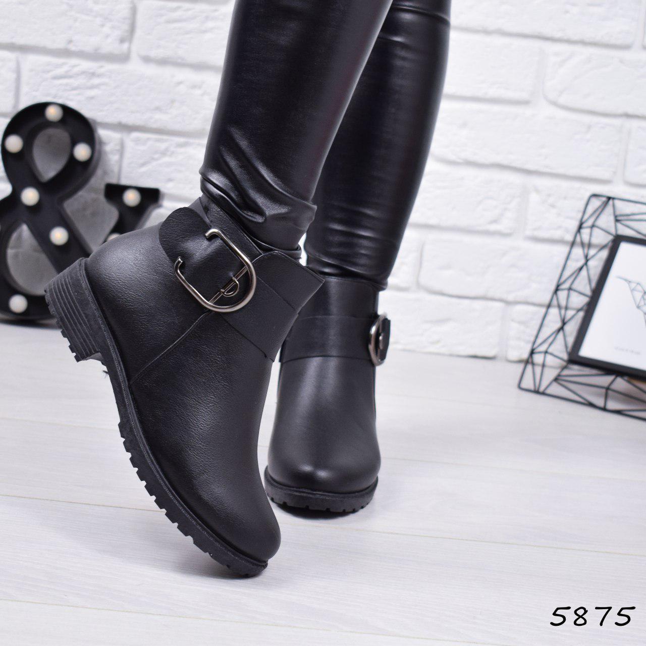 """Ботинки, ботильоны черные ЗИМА """"Gina"""" эко кожа, повседневная, зимняя, теплая, женская обувь"""
