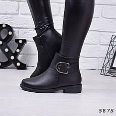 """Ботинки, ботильоны черные ЗИМА """"Gina"""" эко кожа, повседневная, зимняя, теплая, женская обувь, фото 2"""