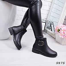 """Ботинки, ботильоны черные ЗИМА """"Gina"""" эко кожа, повседневная, зимняя, теплая, женская обувь, фото 3"""