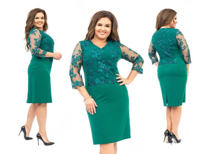 Нарядное женское платье до колен ткань:костюмная + верх и рукава сетка с вышивкой 52,54,56,58,60