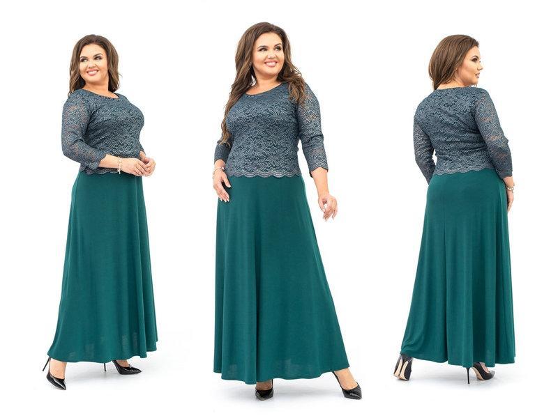Длинное нарядное платье верх гипюр с фойлом низ трикотаж масло размеры: 56,58,60,62,64