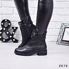 """Ботинки, ботильоны черные ЗИМА """"Gabriele"""" эко кожа, повседневная, зимняя, теплая, женская обувь, фото 3"""