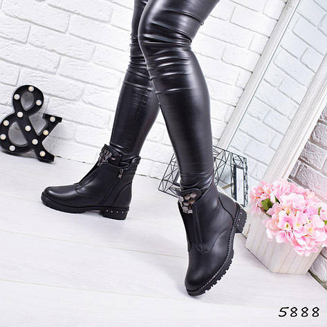 """Ботинки, ботильоны черные ЗИМА """"Gabriele"""" эко кожа, повседневная, зимняя, теплая, женская обувь, фото 2"""