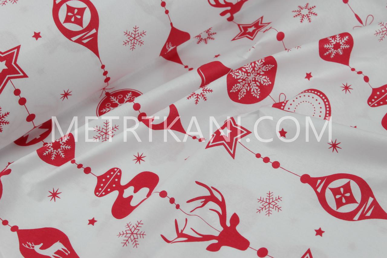 """Новогодняя ткань  """"Гирлянда, новогодних игрушек с рисунками"""" красные  на белом фоне № 1233"""