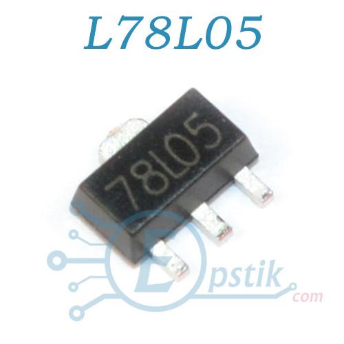 L78L05, стабилизатор напряжения 5В, 150мА, SOT89