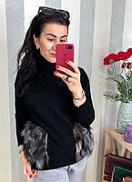 Оригинальный свитер с мехом чернобурки