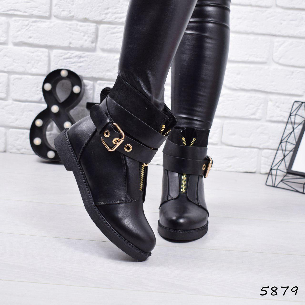 """Ботинки, ботильоны черные ЗИМА """"Benedict"""" эко кожа, повседневная, зимняя, теплая, женская обувь"""