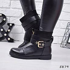 """Ботинки, ботильоны черные ЗИМА """"Benedict"""" эко кожа, повседневная, зимняя, теплая, женская обувь, фото 3"""