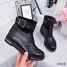 """Ботинки, ботильоны черные ЗИМА """"Barkly"""" эко кожа, повседневная, зимняя, теплая, женская обувь, фото 3"""