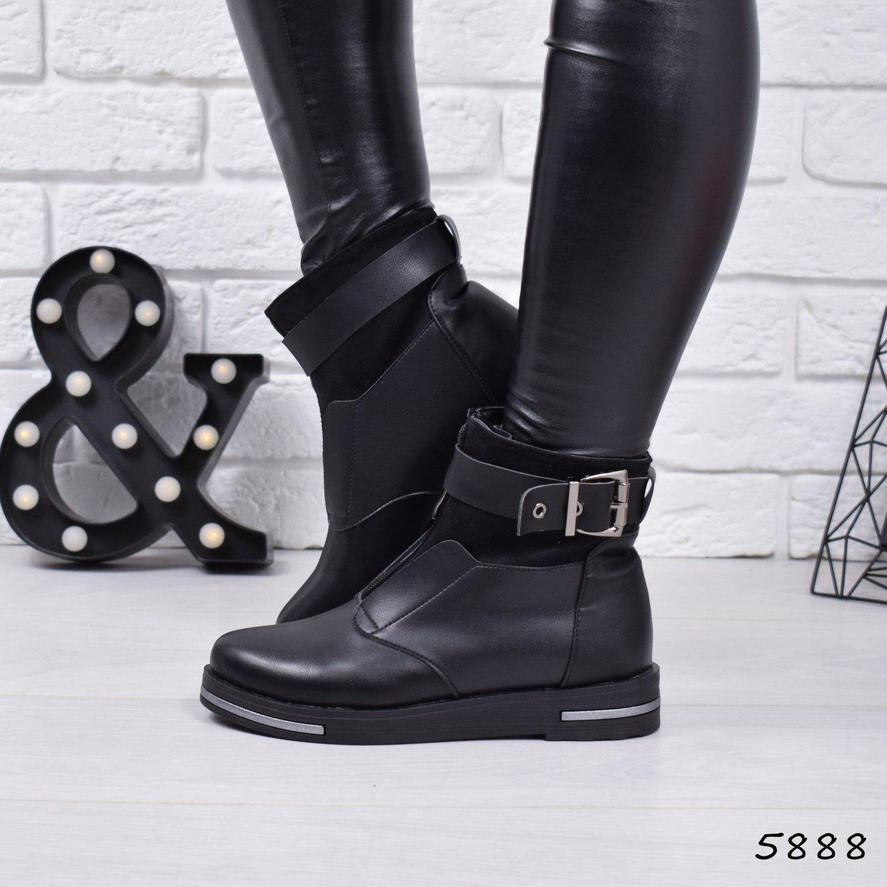 """Ботинки, ботильоны черные ЗИМА """"Barkly"""" эко кожа, повседневная, зимняя, теплая, женская обувь"""