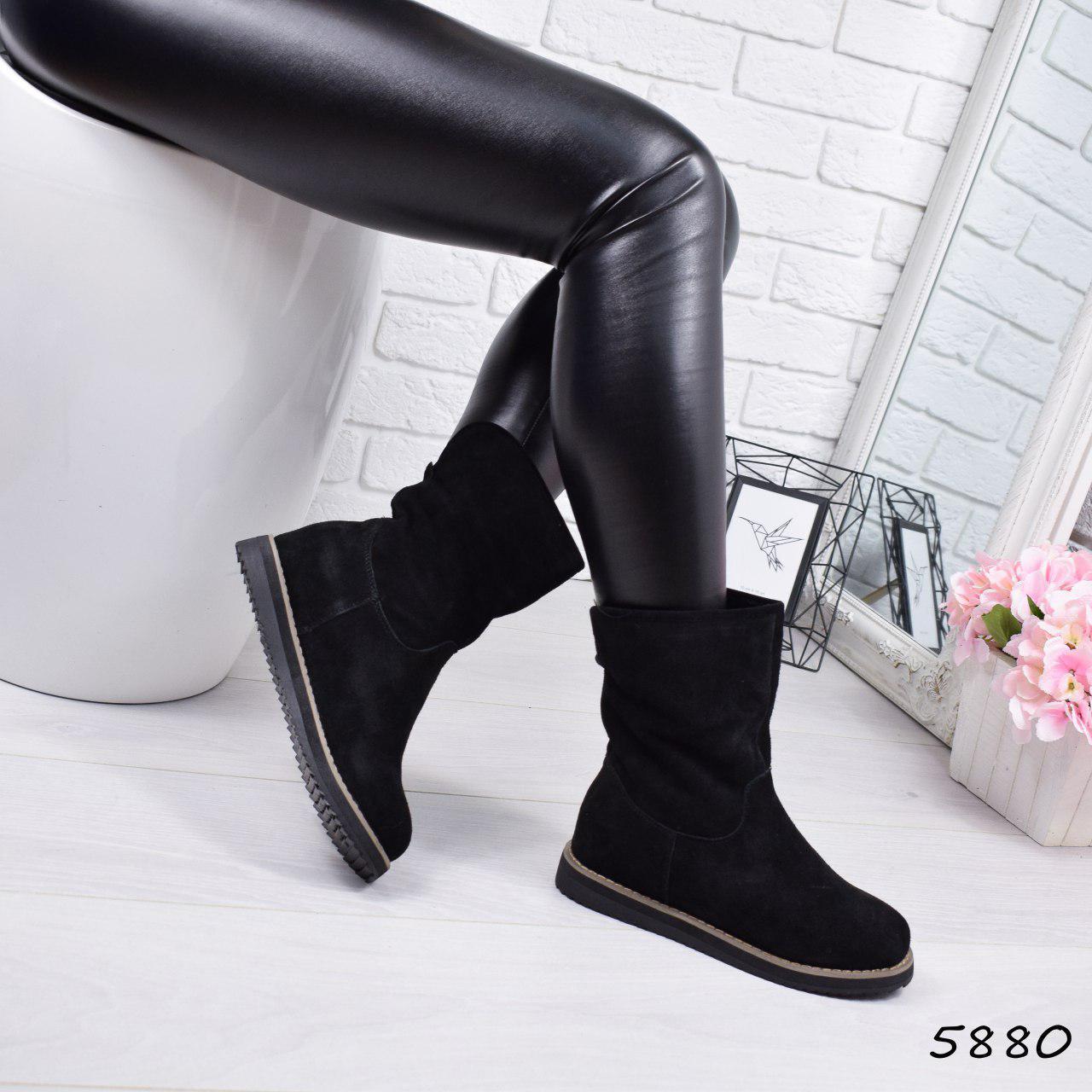 """Ботинки, ботильоны черные ЗИМА """"Birgit"""" НАТУРАЛЬНАЯ ЗАМША, повседневная, зимняя, теплая, женская обувь"""