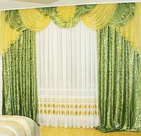 Ламбрекен со шторами для зала, гостиной, спальни Dana13 (зелень), фото 1