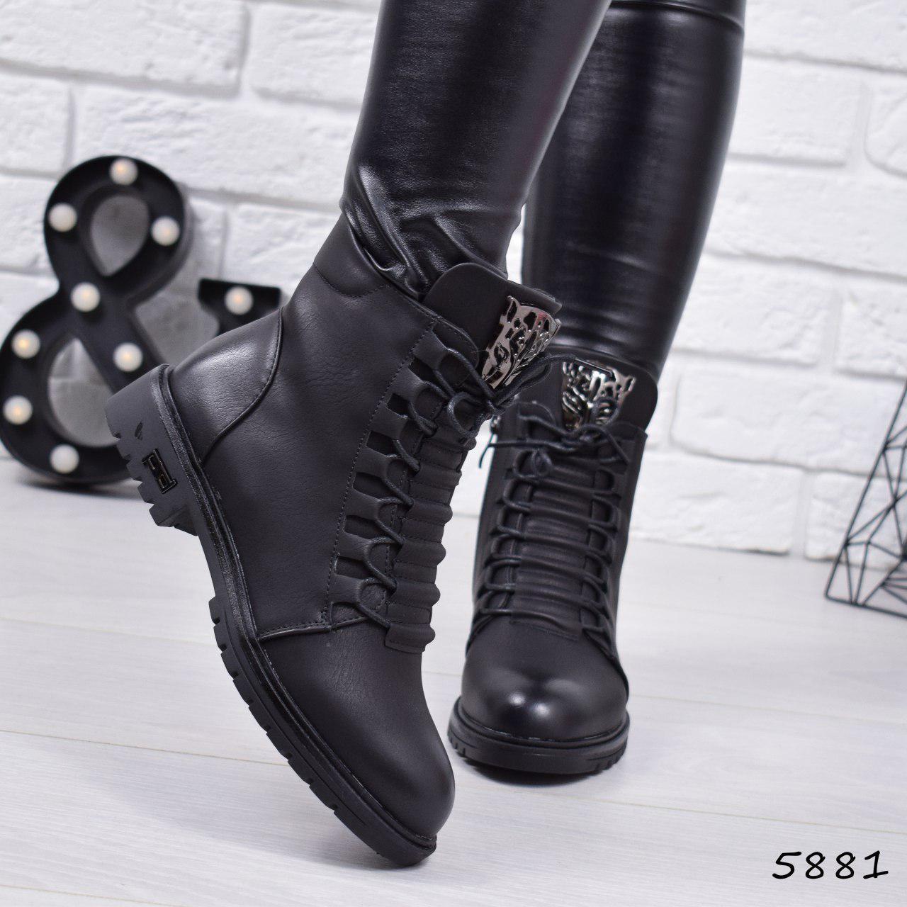 """Ботинки, ботильоны черные демисезонные """"Tigra"""" эко кожа, повседневная,осенняя, женская обувь"""