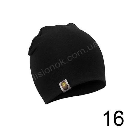 Черная трикотажная однотонная шапка Bape для подростков и взрослых 54-62см