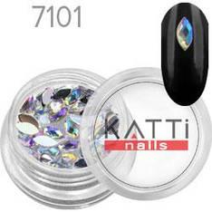 KATTi Стразы в банке акрил фигурные 7101 horse-eye 3x6mm Crystal AB 50шт