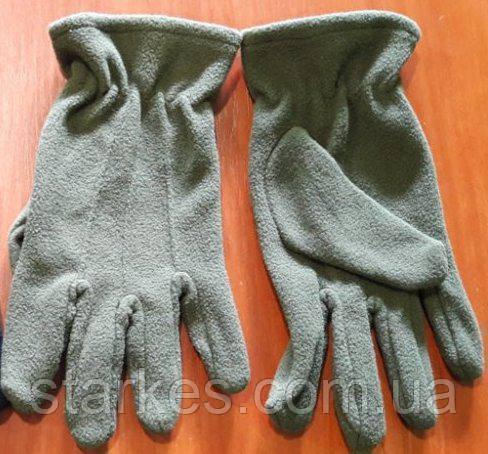Перчатки с флиса, однослойные, цвета : черный и олива, Польша, 10 р