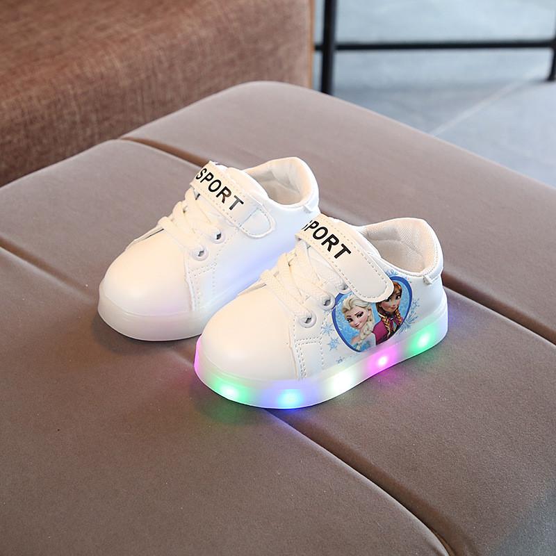 f120afbd White Frozen, Белые с Эльзой Светящиеся Кроссовки LED, Размер 21,24 ...