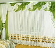 Шифоновый ламбрекен со шторой 3м Agnia4 (зелень)