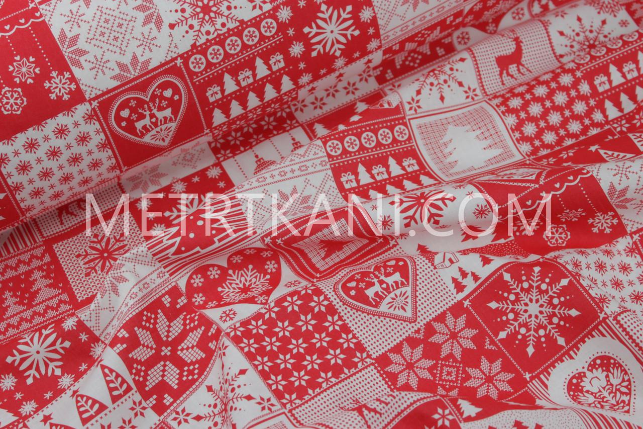 """Новогодняя ткань  """"Шахматные квадраты с новогодними рисунками"""" красные на белом фоне № 1238"""