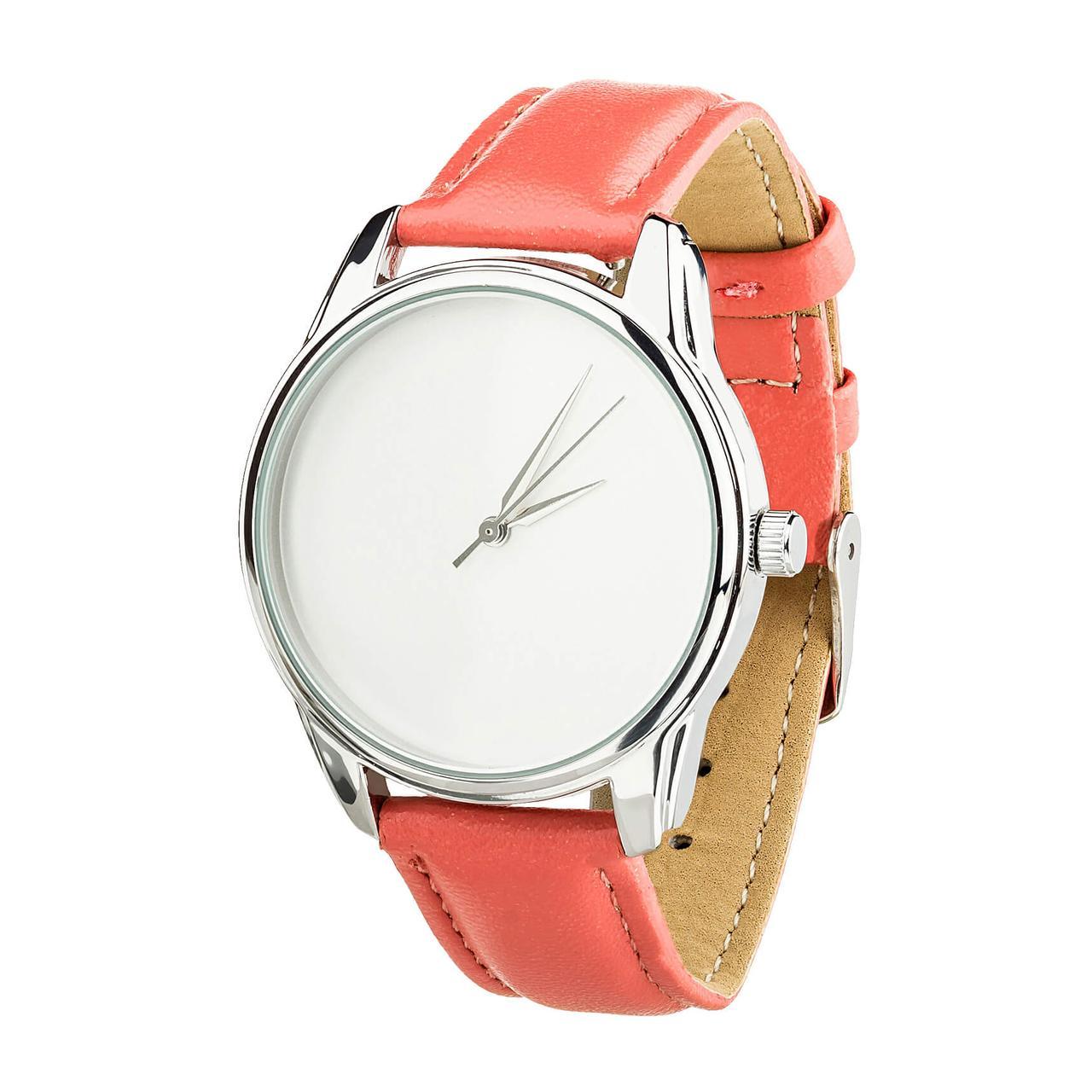 """Часы """"Минимализм"""" (ремешок клубнично - коралловый, серебро) + дополнительный ремешок"""