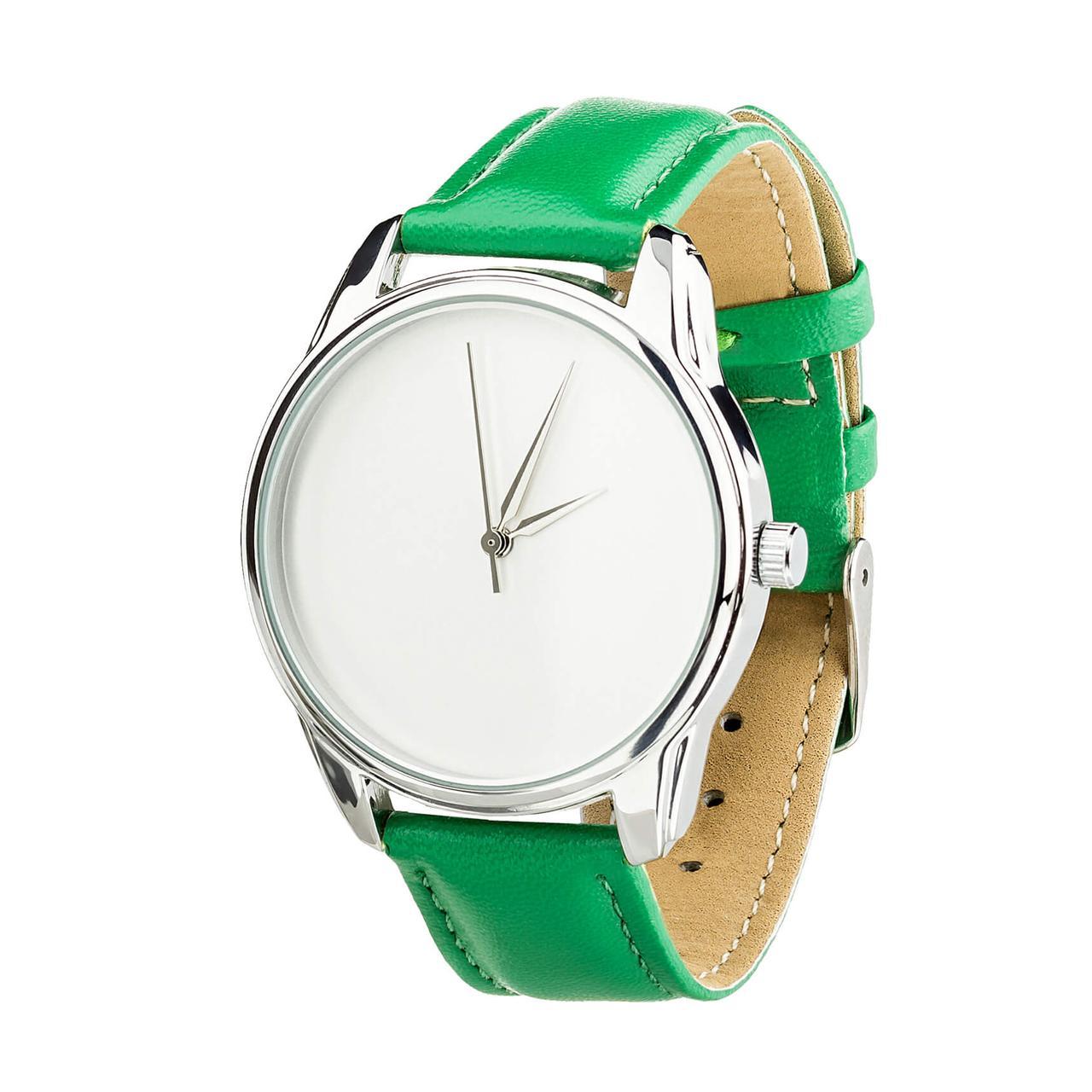 """Часы """"Минимализм"""" (ремешок изумрудно - зеленый, серебро) + дополнительный ремешок"""