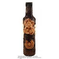 Бутылка деревянная с подковой