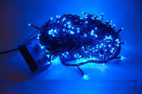 Гирлянда светодиодная 100 led 8 метров 8 программ с контроллером голубая Blue