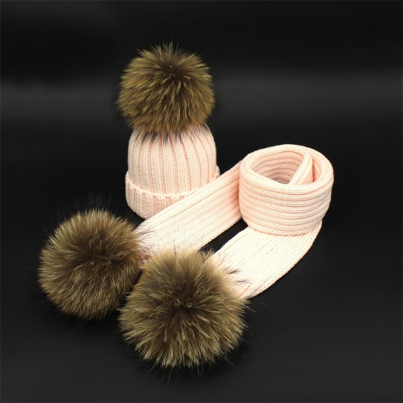 Детский набор шапка + шарф с помпонами енота