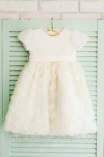 Молочное торжественное платье для девочки код: 7024, размеры: от 80 до 116