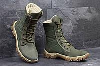 Берцы зимние темно зеленые 6477