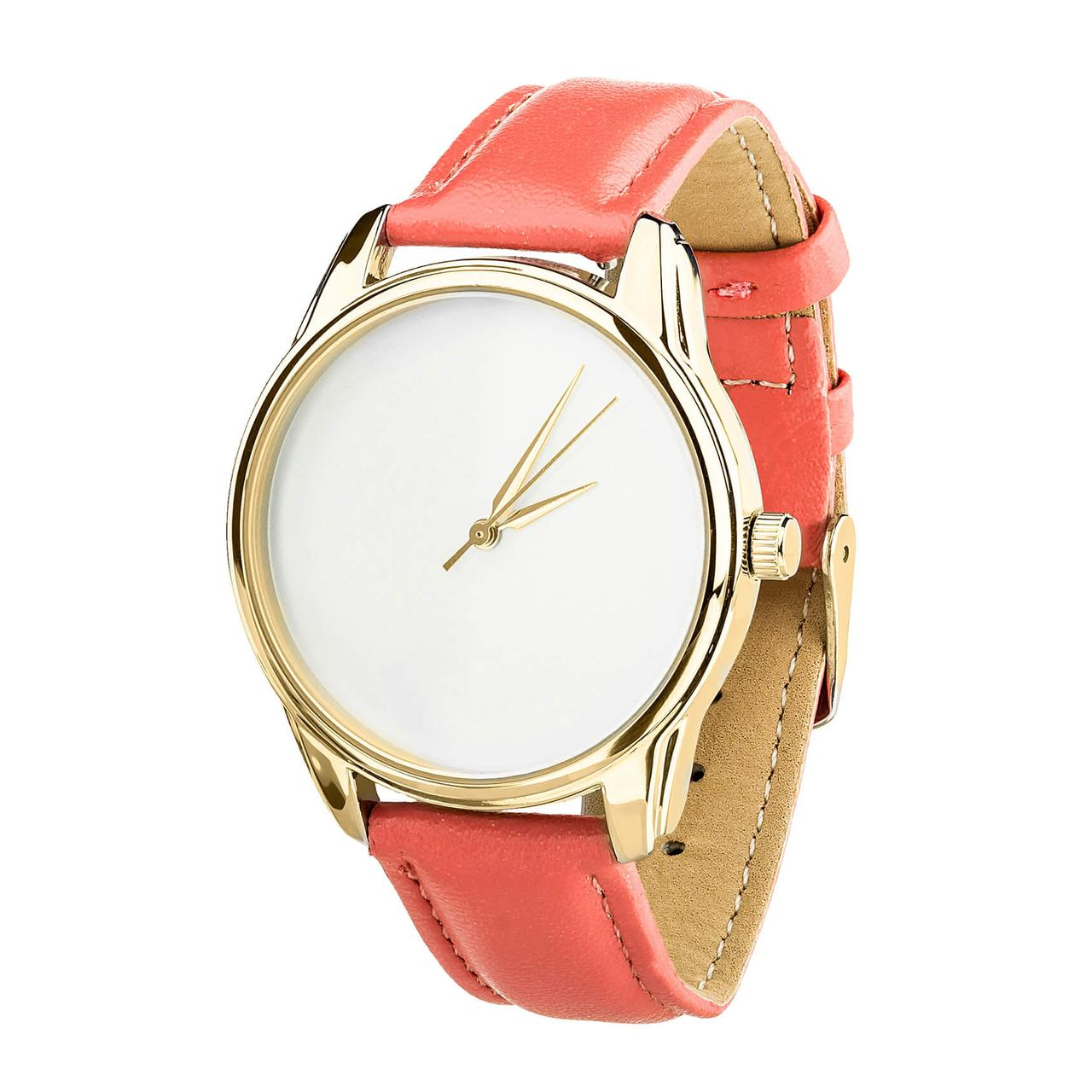 """Часы """"Минимализм"""" (ремешок клубнично - коралловый, золото) + дополнительный ремешок"""
