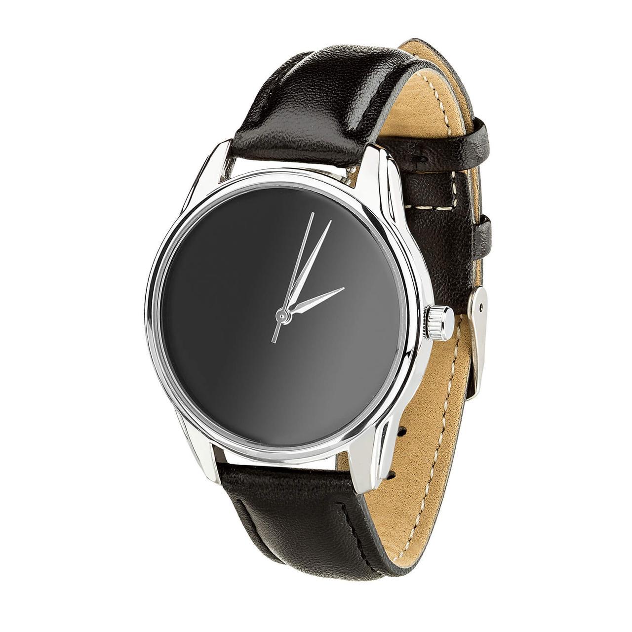 """Часы """"Минимализм черный"""" (ремешок насыщенно - черный, серебро) + дополнительный ремешок"""