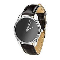 """Часы """"Минимализм черный"""" (ремешок насыщенно - черный, серебро) + дополнительный ремешок, фото 1"""