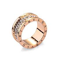 Кольцо BVLGARI ювелирная бижутерия золото 18к 750 проба декор циркон