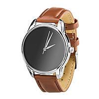 """Часы """"Минимализм черный"""" (ремешок кофейно - шоколадный, серебро) + дополнительный ремешок, фото 1"""