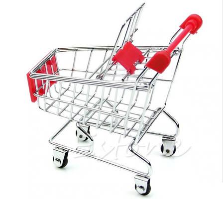 Мини Тележка покупательская, муляж, макет тележка супермаркетовская маленькая для визиток, чеков, фото 2
