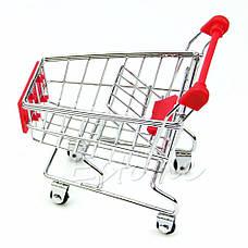 Мини Тележка покупательская, муляж, макет тележка супермаркетовская маленькая для визиток, чеков, фото 3
