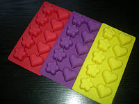 Форма силиконовая Сердечки-Цветочки 10 шт на планшете, фото 1