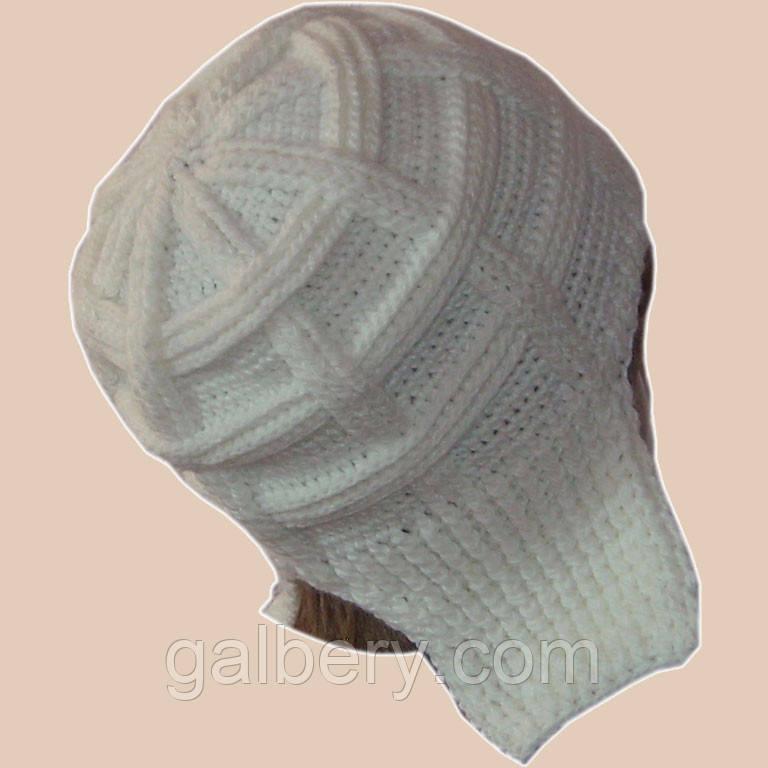 Женская вязаная зимняя шапка-ушанка(утепленный вариант) молочно-белого цвета